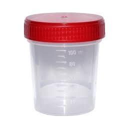 Pojemnik PP na mocz, z czerwoną zakręconą zakrętkę, niejałowy 120ml, 1szt.