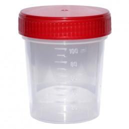 Pojemnik PP na mocz, z czerwoną zakrętką, jałowy 120ml, 1szt.