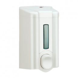 Dozownik do mydła o pojemności 0,5 l, biały z okienkiem poziomu mydła.