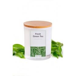 Świeca zapachowa z wosku sojowego w szkle-(Fresh Green Tea), 300ml