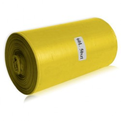 Worki na odpady żółte, sanitarne, 60L, LDPE 50szt/rol