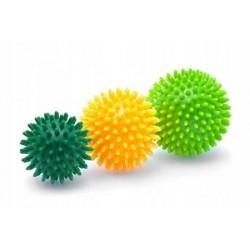 Piłka do masażu i rehabilitacji z kolcami, 9cm, żółta, 1szt