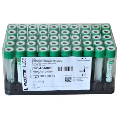 Probówka Vacuette z Heparyną Litową 4ml, Grainer kod: 454084, plast., 13x75mm 50szt/op